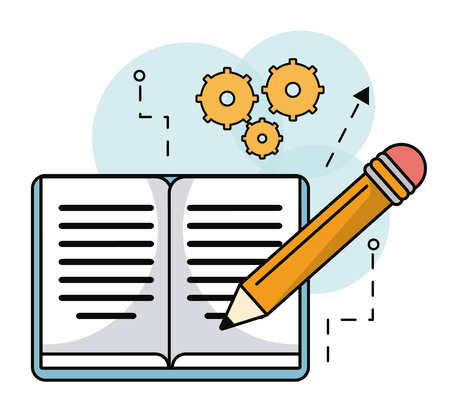 leccion: book pencil writing learning work vector illustration eps 10 Vectores