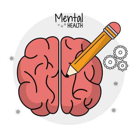 mental health brain human pencil idea vector illustration eps 10 Illustration
