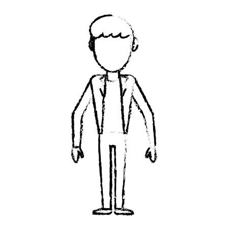 sketch man male faceless standing vector illustration eps 10