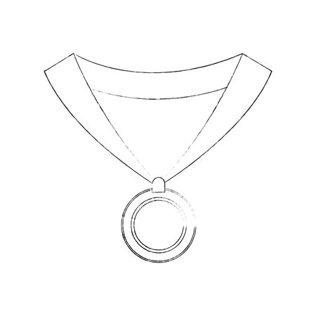medal with ribbon icon image vector illustration design  simple sketch line