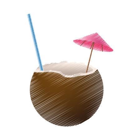 coconut cocktail icon image vector illustration design Illustration