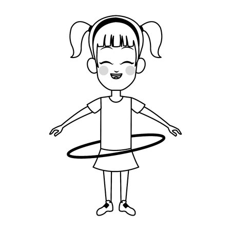 hula hoop: Girl with hula hoop, cartoon icon over white background. Illustration