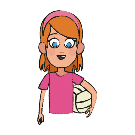 Girl with volleyball ball, cartoon icon over white background.