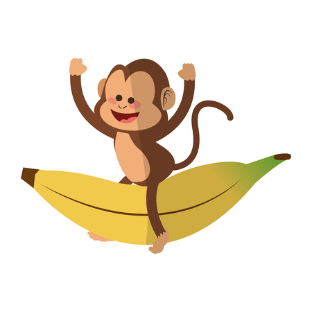 primates: Monkey playing with a banana,  cartoon icon over white background. colorful design. vector illustration