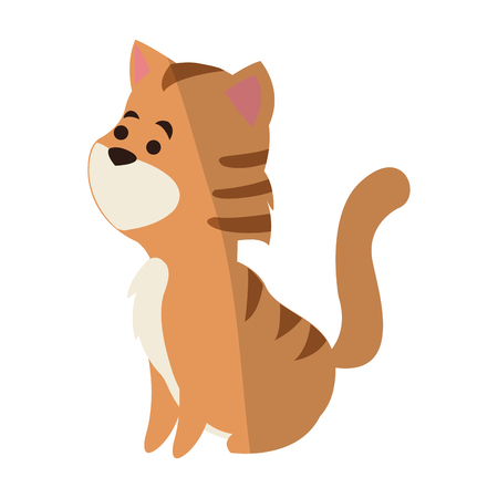 reserve: Cute cat animal, cartoon icon over white background. colorful design.