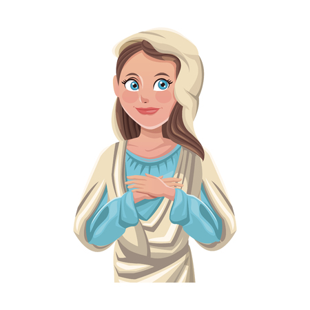 virgin mary, cartoon icon over white background. colorful design. vector illustration Illustration