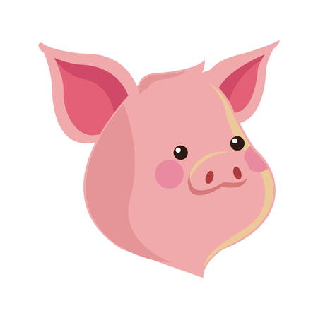 reserve: cute pig animal, cartoon icon over white background. colorful design. vector illustration Illustration