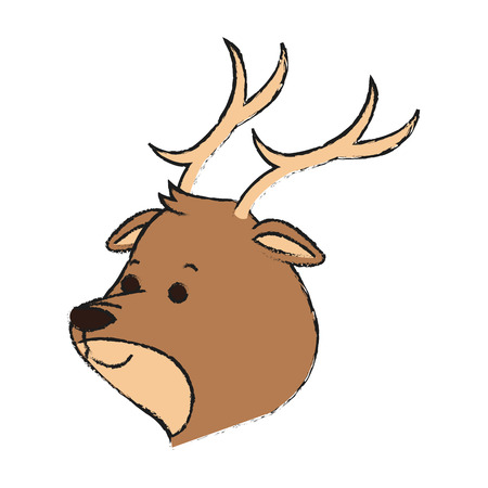 reserve: Cute deer animal, cartoon icon over white background. vector illustration