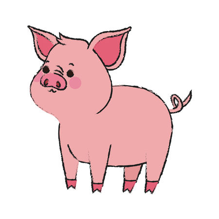 simple life: cute pig animal, cartoon icon over white background. vector illustration