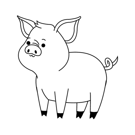 reserve: Cute pig animal, cartoon icon over white background. vector illustration Illustration