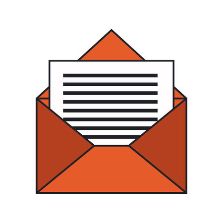 Envelope icon over white background. colorful design. vector illustration