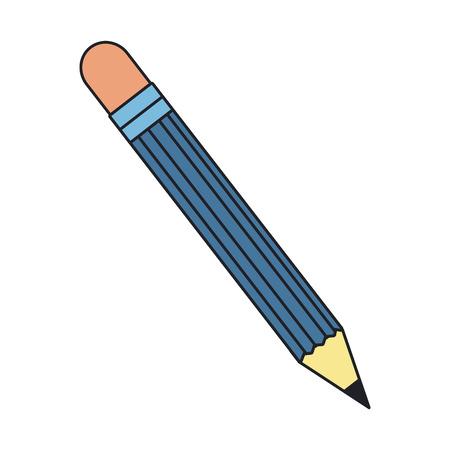 Blue pencil icon over white background. colorful design. vector illustration