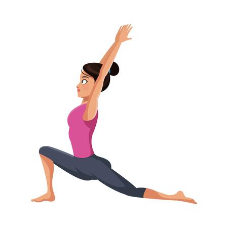 girl doing yoga, cartoon icon over white background. colorful design. vector illustration