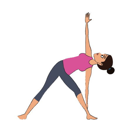 woman doing yoga, cartoon icon over white background. colorful design. vector illustration