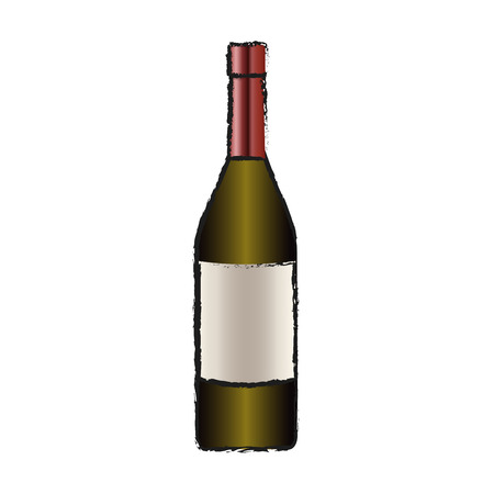 wine bottle icon over white background. vector illustration