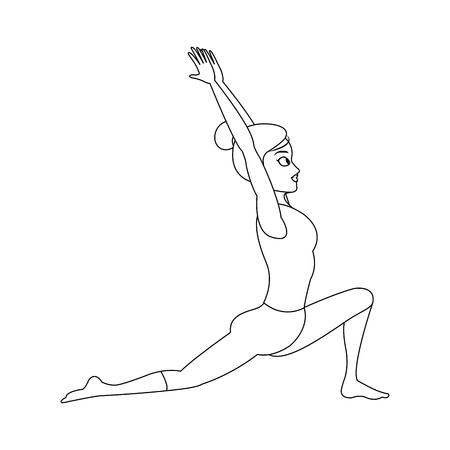 woman doing yoga, cartoon icon over white background. vector illustration Illustration