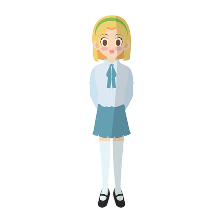 Anime girl wearing school uniform, icon over white background colorful design.
