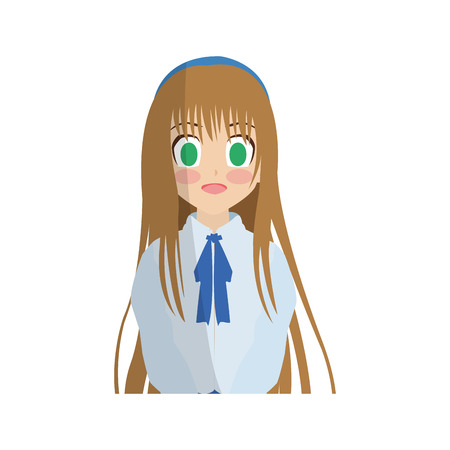 anime girl wearing school uniform, icon over white background. colorful design. vector illustration