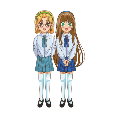 anime girls wearing school uniform, icon over white background. colorful design. vector illustration