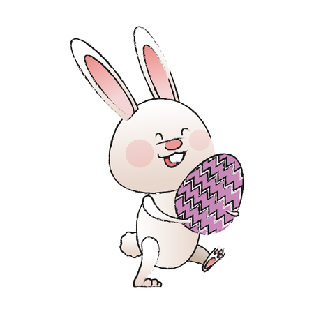 cute rabbit with easter eggs icon over white background. colorful deisign. vector illustration