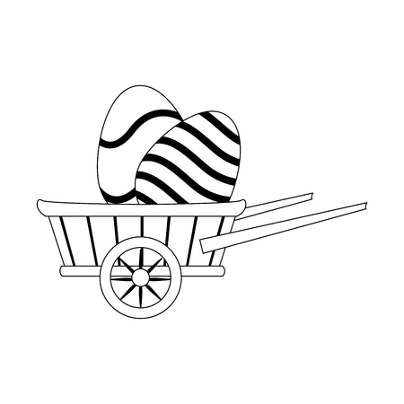 wooden wheelbarrow with easter eggs icon over white background. vector illustration