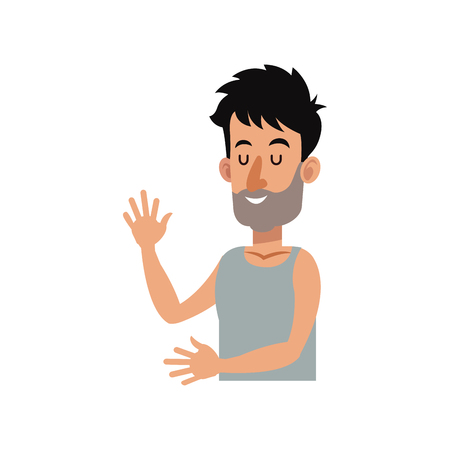 Man with rest position, cartoon icon over white background. colorful design. vector illustration