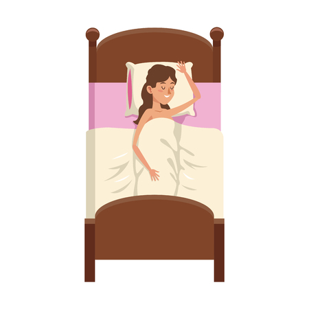 sleepy woman: woman slepping at the bed, cartoon icon over white background. colorful design. vector illustration Illustration