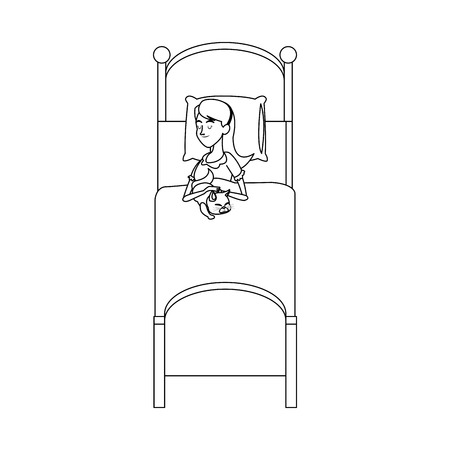 woman lying in bed: woman slepping at the bed, cartoon icon over white background. vector illustration