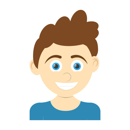 happy boy wearing blue t-shirt, cartoon icon over white background. colorful design. vector illustration Illustration