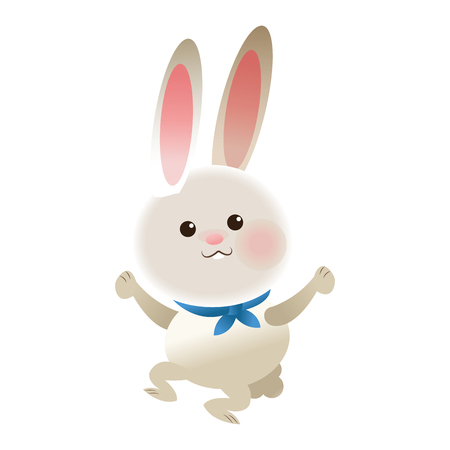 flat design rabbit cartoon icon vector illustration Illustration