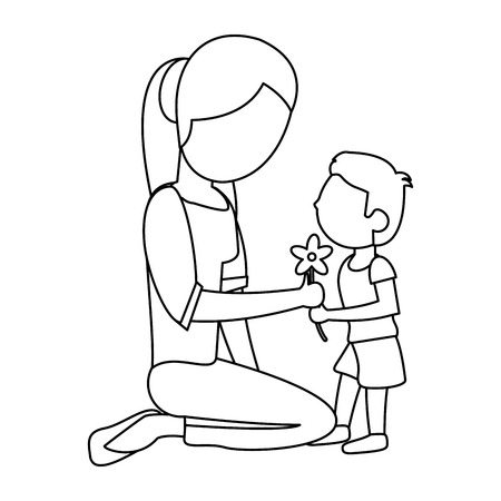 family: son give flower mother outline
