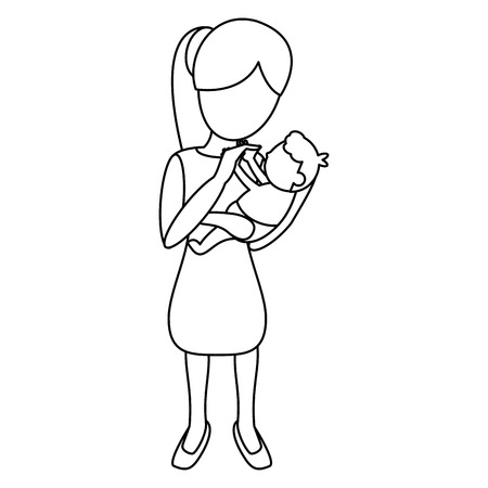 mother and baby: mom carrying little baby outline