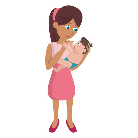 mom carrying little baby Illustration
