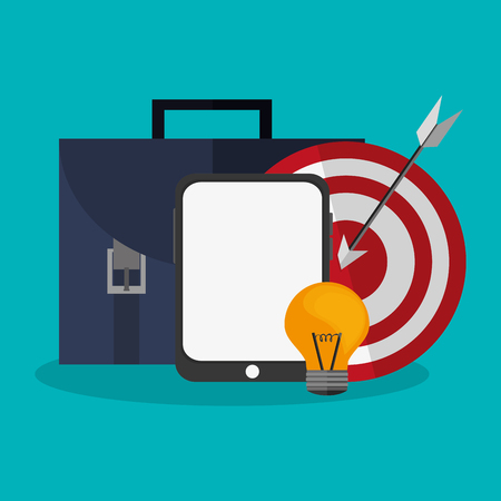 briefcase and target icon over blue background. colorful design. vector illustration