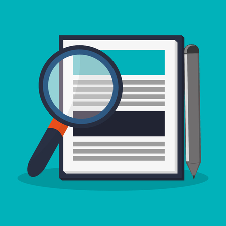 icons site search: magnifying glass and report table icon over blue background. colorful design. vector illustration