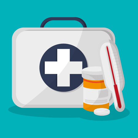 termometro: First aid box and medicine related icons over blue background. colorful design. vector illustration Vettoriali