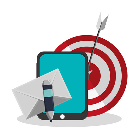 smartphone, envelope and target icon over white background. colorful design. vector illustration