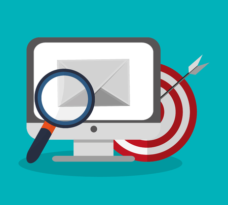 magnifying glass, computer and target icon over blue background. colorful desing. vector illustration