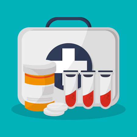 First aid box and medicine related icons over blue background. colorful design. vector illustration Illustration