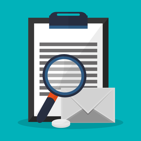magnifying glass and report table icon over blue background. colorful design. vector illustration
