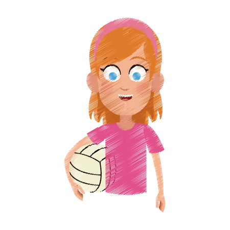 recess: happy young girl with volleyball icon image vector illustration design Illustration