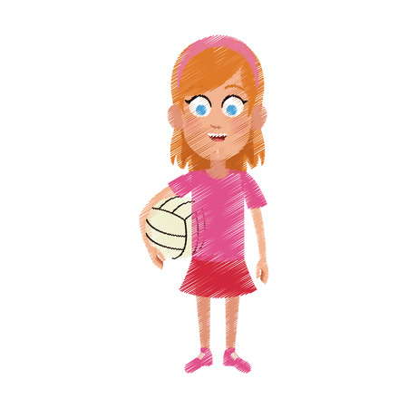 happy young girl with volleyball icon image vector illustration design Illustration