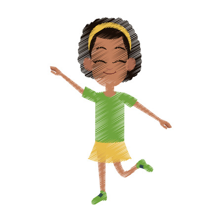 dark skin happy young girl dancing with stretched arms icon image vector illustration design