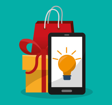 smartphone with online shopping related icons image vector illustration design