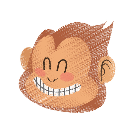 happy smiling monkey cartoon icon image vector illustration design