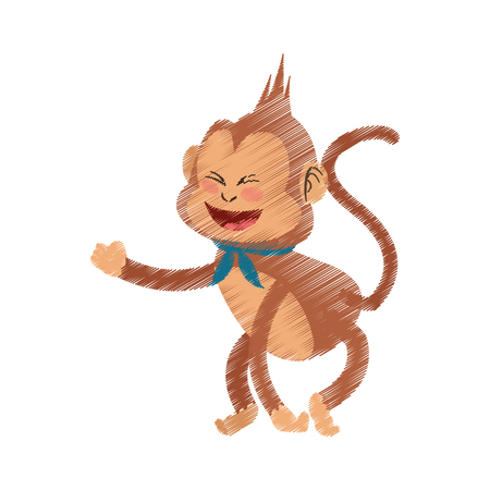 happy playful monkey cartoon icon image vector illustration design
