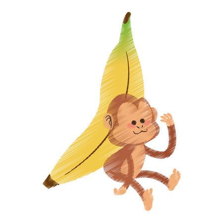 monkey playing with big banana cartoon icon image vector illustration design