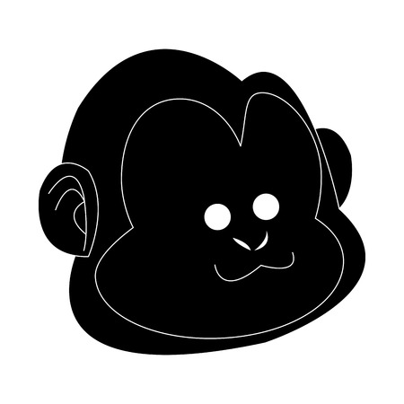 happy smiling monkey cartoon icon image vector illustration design  black and white