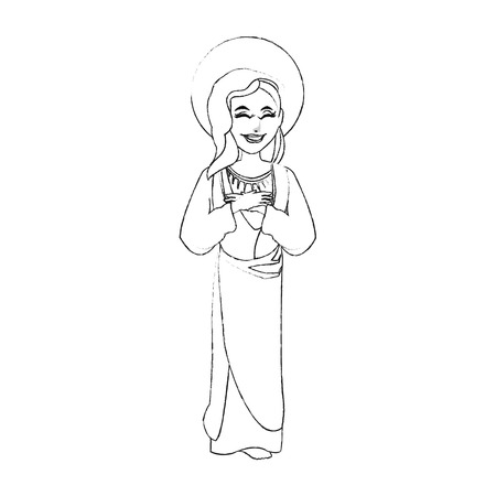 holy mary icon image vector illustration design  black sketch line Illustration