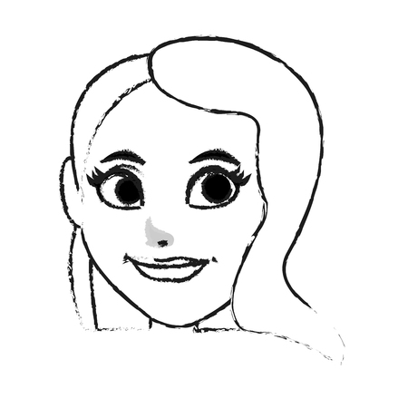 pretty eyes: pretty woman with big eyes icon image vector illustration design  black sketch line